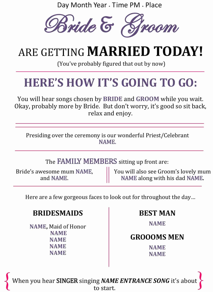 Free Sample Wedding Programs Templates Luxury 37 Printable Wedding Program Examples & Templates