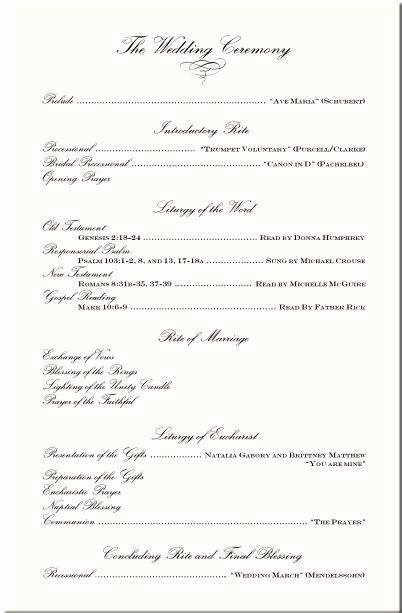 Free Sample Wedding Programs Templates Unique Wording Examples Wedding Ceremony Programs