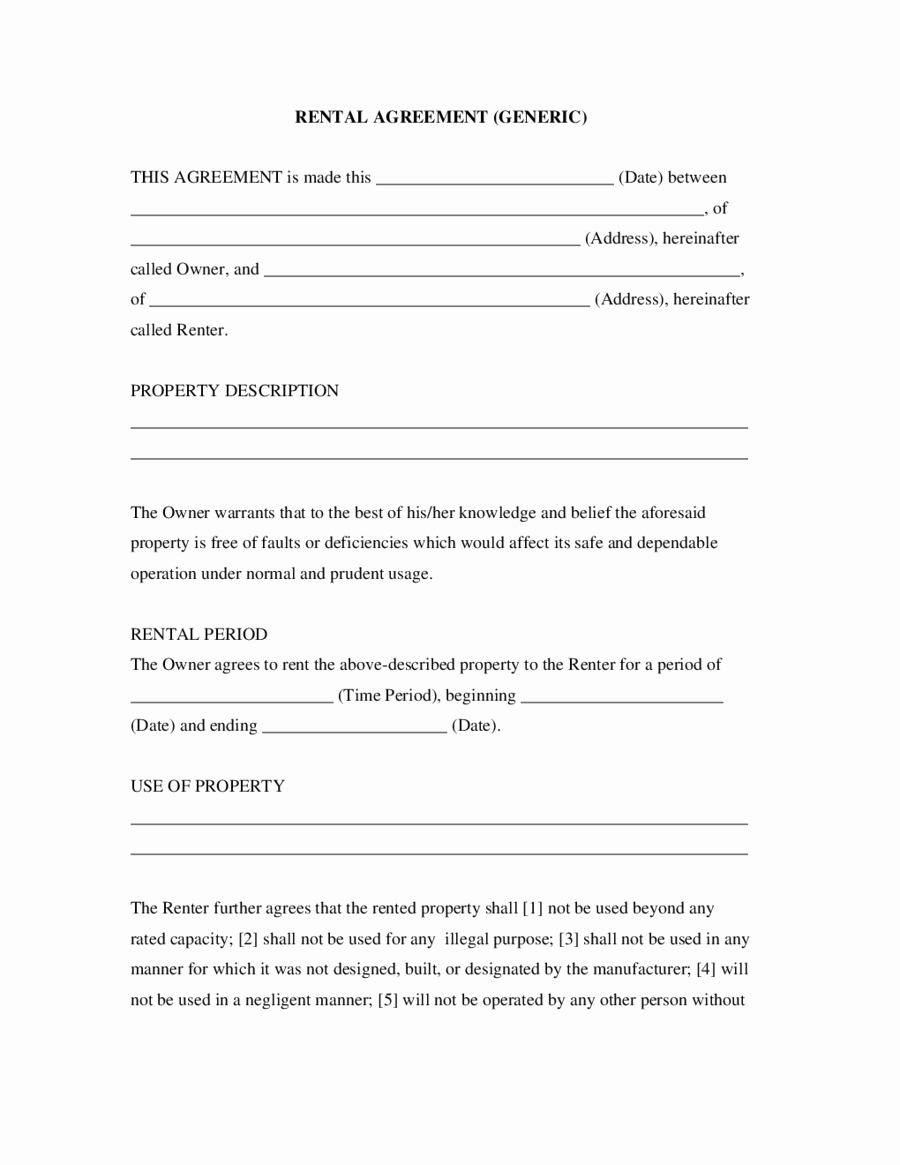Free Simple Lease Agreement Awesome Simple Rental Agreement Generic Edit Fill Sign Line