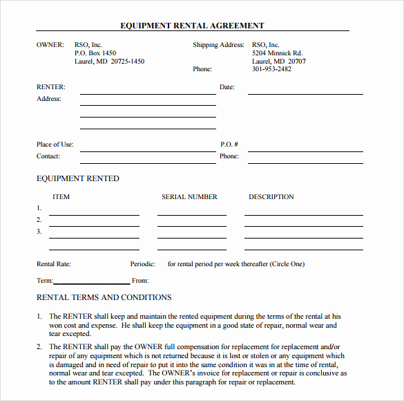 Free Simple Lease Agreement New Sample Equipment Rental Agreement Template 15 Free