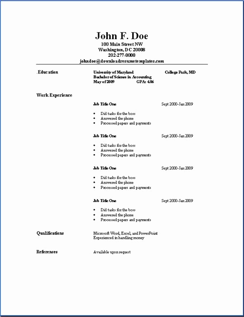 Free Simple Resume Templates Awesome Basic Resume Outline Sample S Mother Love