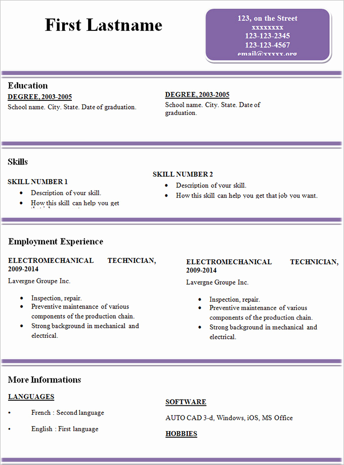 Free Simple Resume Templates Awesome Simple Resume Template 46 Free Samples Examples