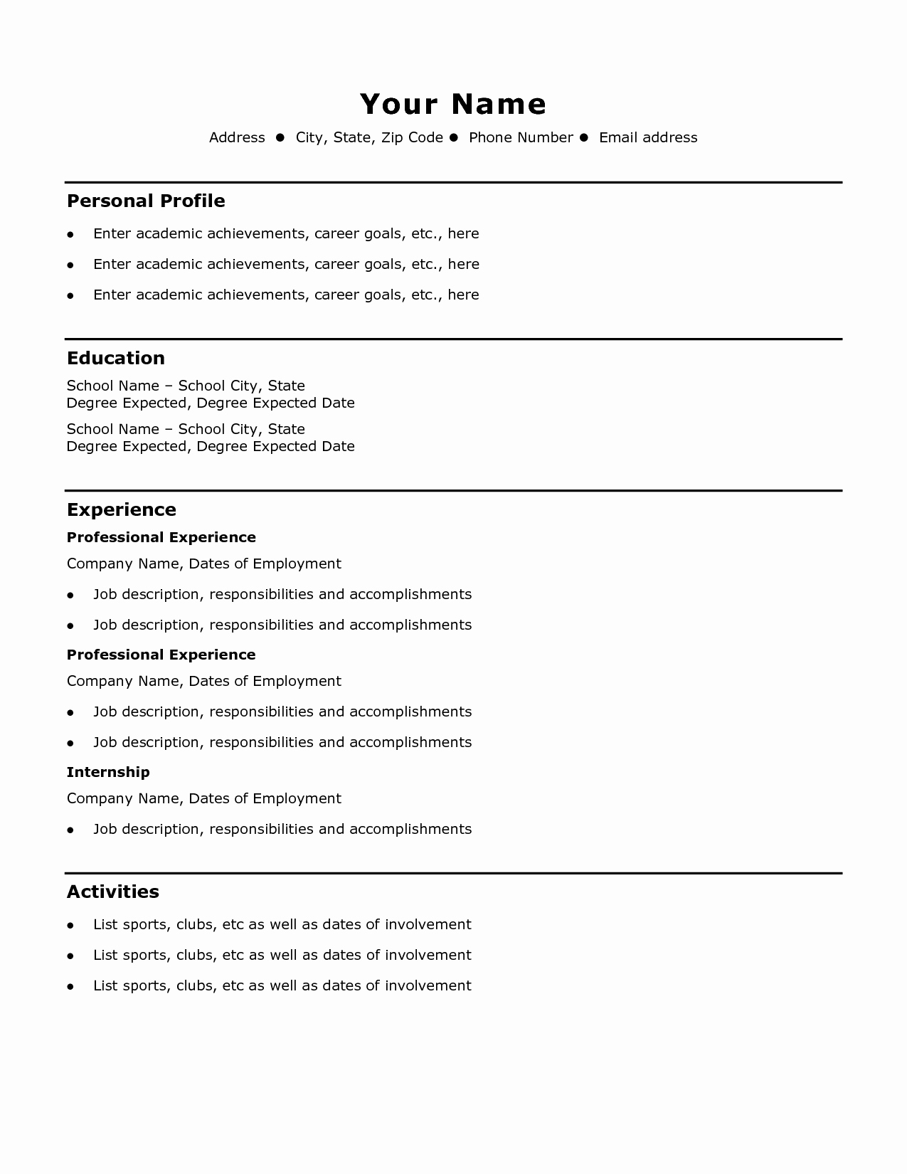 Free Simple Resume Templates Best Of Simple Cv Example Madrat Co Shalomhouse Waa Mood