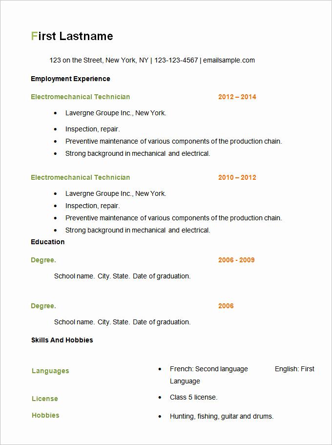 Free Simple Resume Templates Fresh 16 Basic Curriculum Vitae format