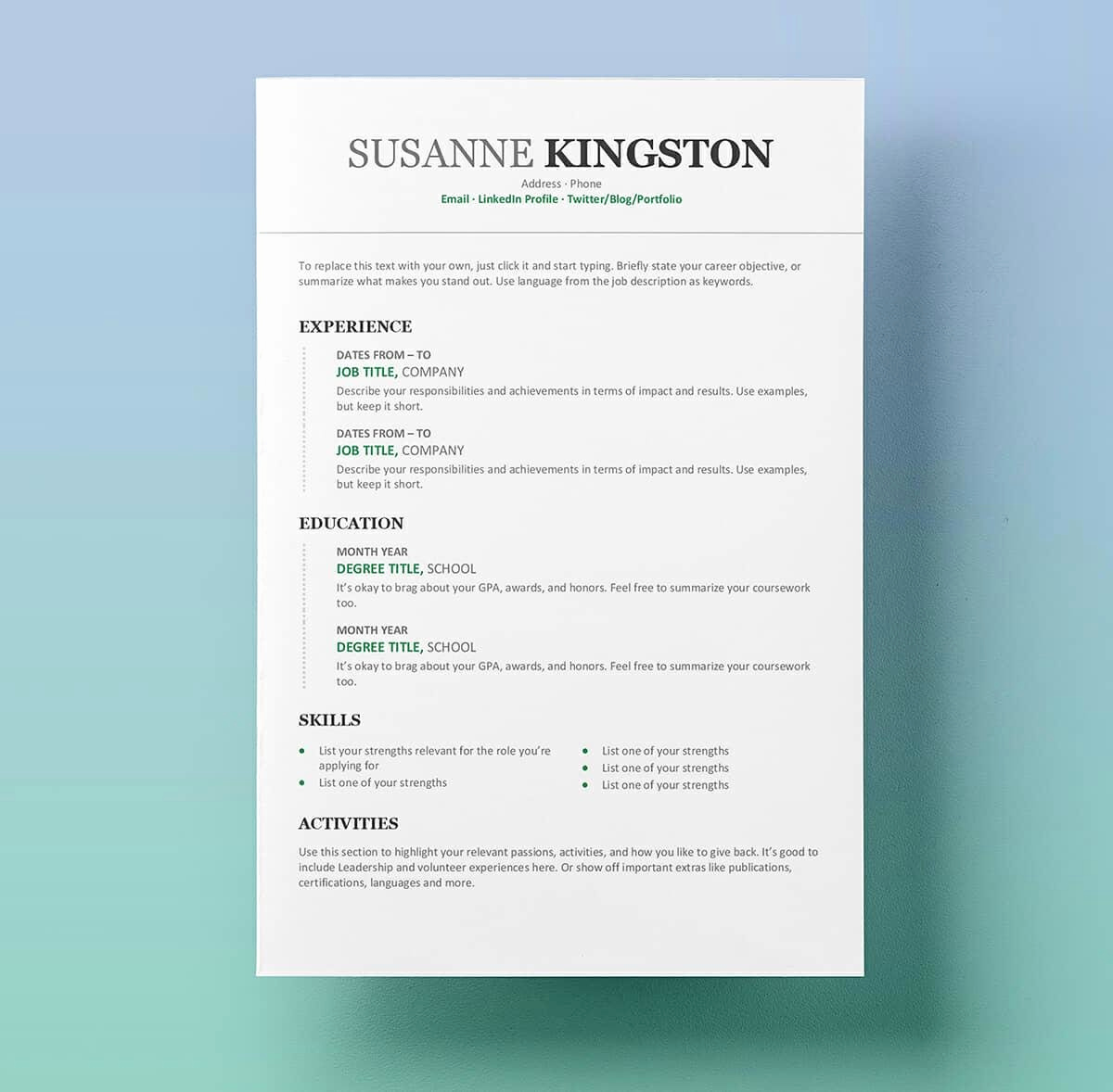 Free Simple Resume Templates Fresh Resume Templates for Word Free 15 Examples for Download