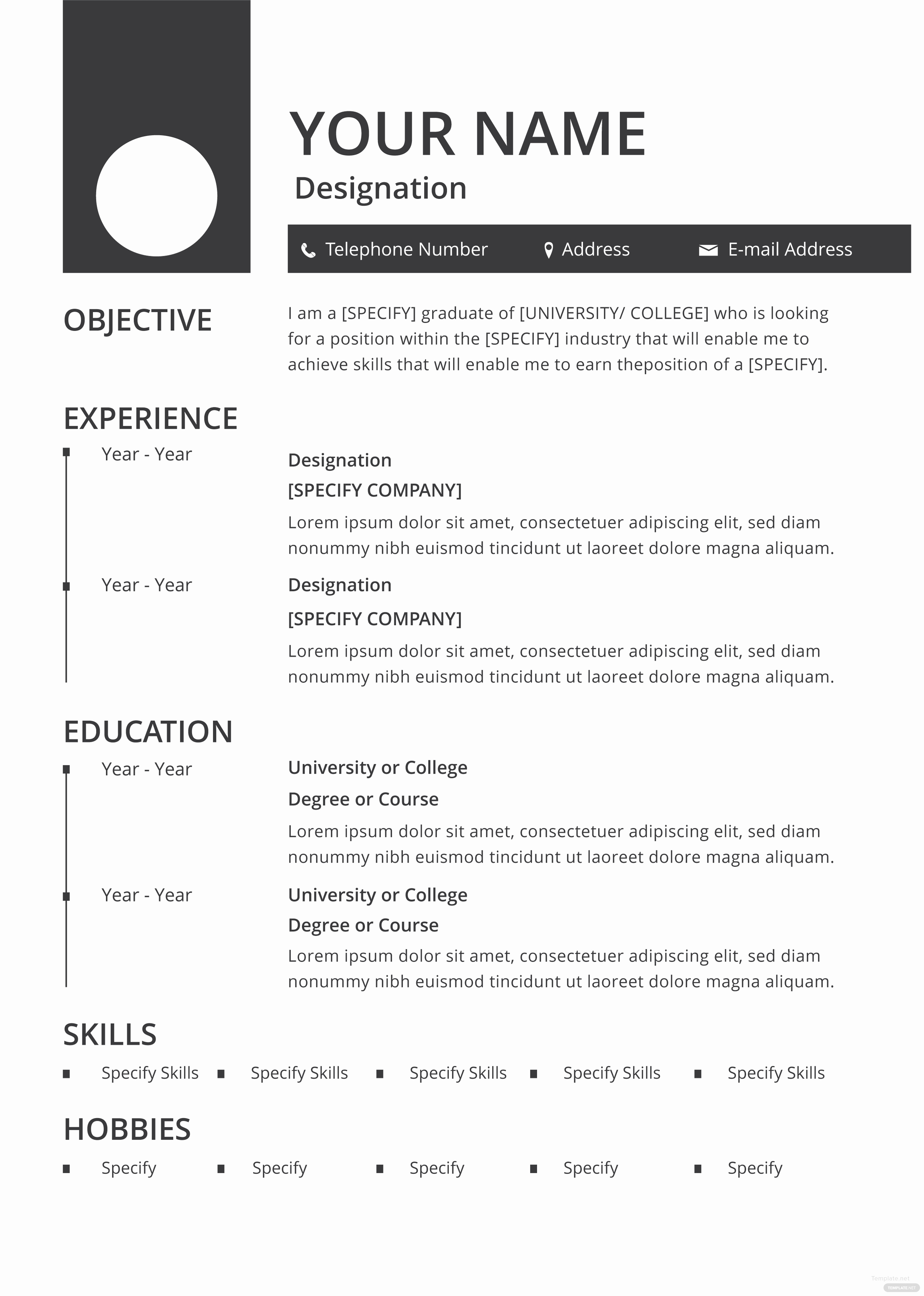 Free Simple Resume Templates Inspirational Free Blank Resume and Cv Template In Adobe Shop