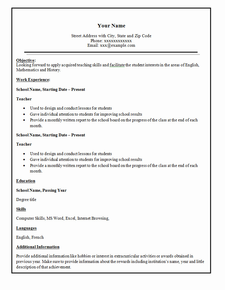 Free Simple Resume Templates Luxury Simple Resume Template 46 Free Samples Examples