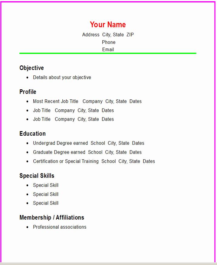 Free Simple Resume Templates Unique Basic Chronological Resume Template ← Open Resume Templates