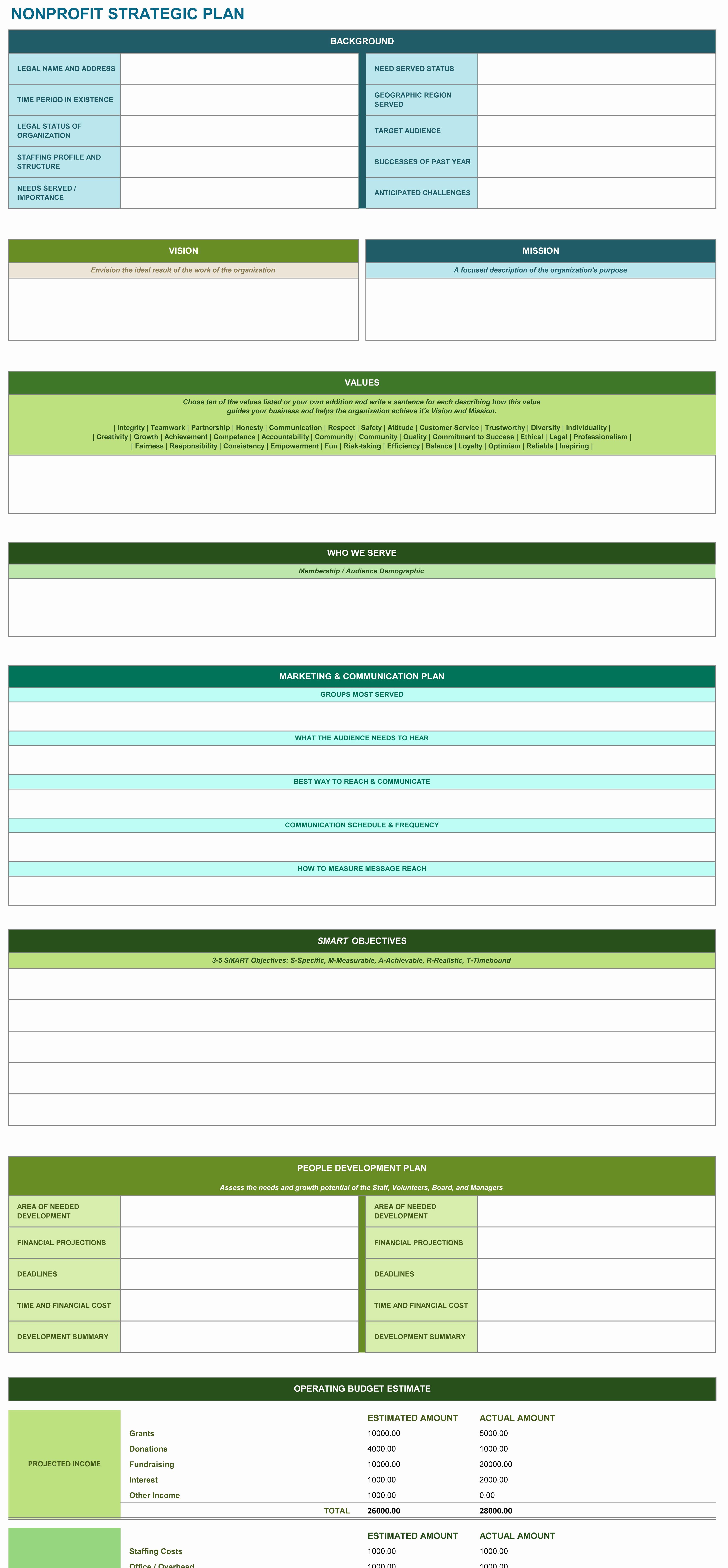 Free Strategic Plan Template Unique 9 Free Strategic Planning Templates Smartsheet