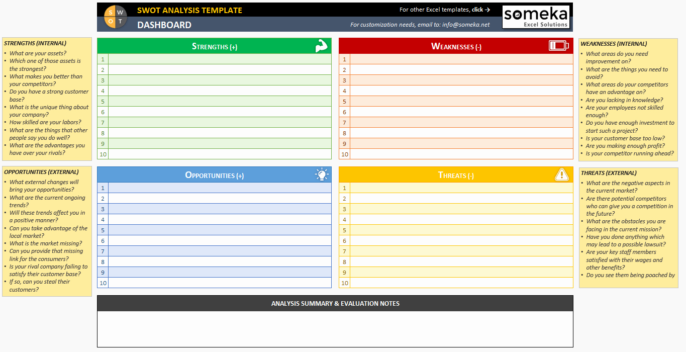 Free Swot Analysis Template Awesome Swot Analysis Template Printable and Free Excel Spreadsheet