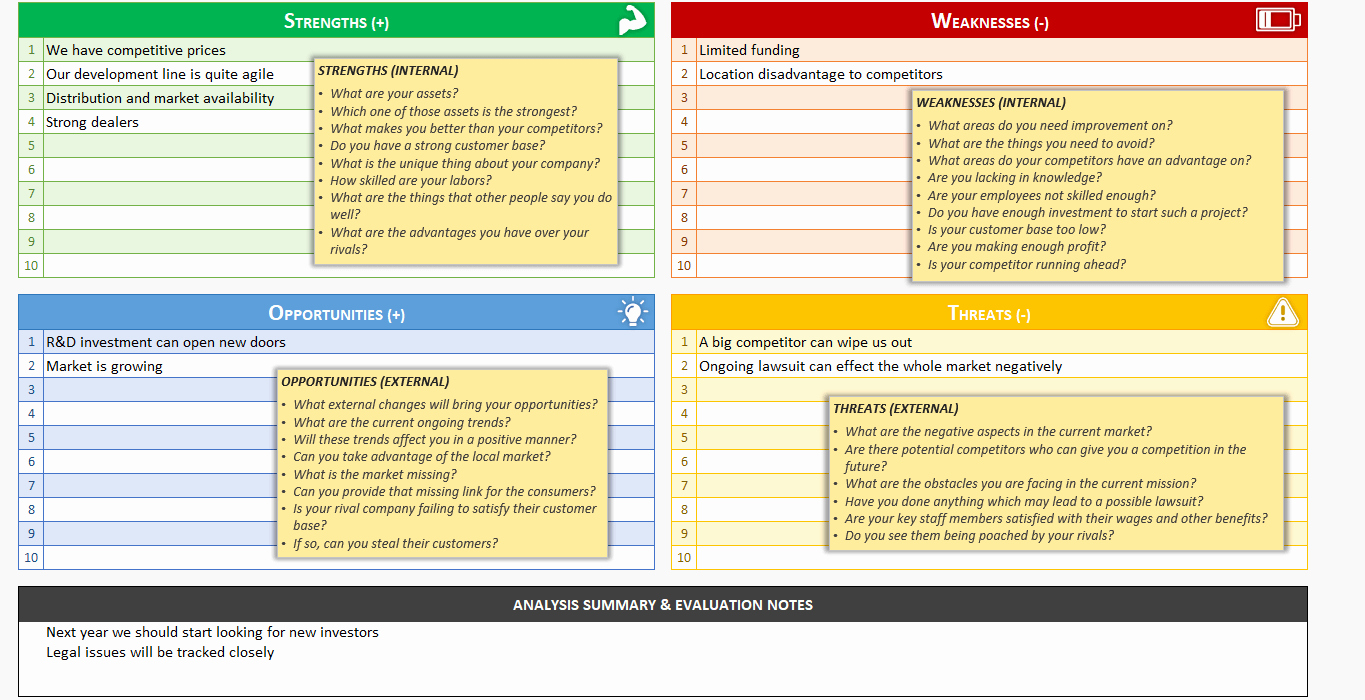 Free Swot Analysis Template New Swot Analysis Template Printable and Free Excel Spreadsheet