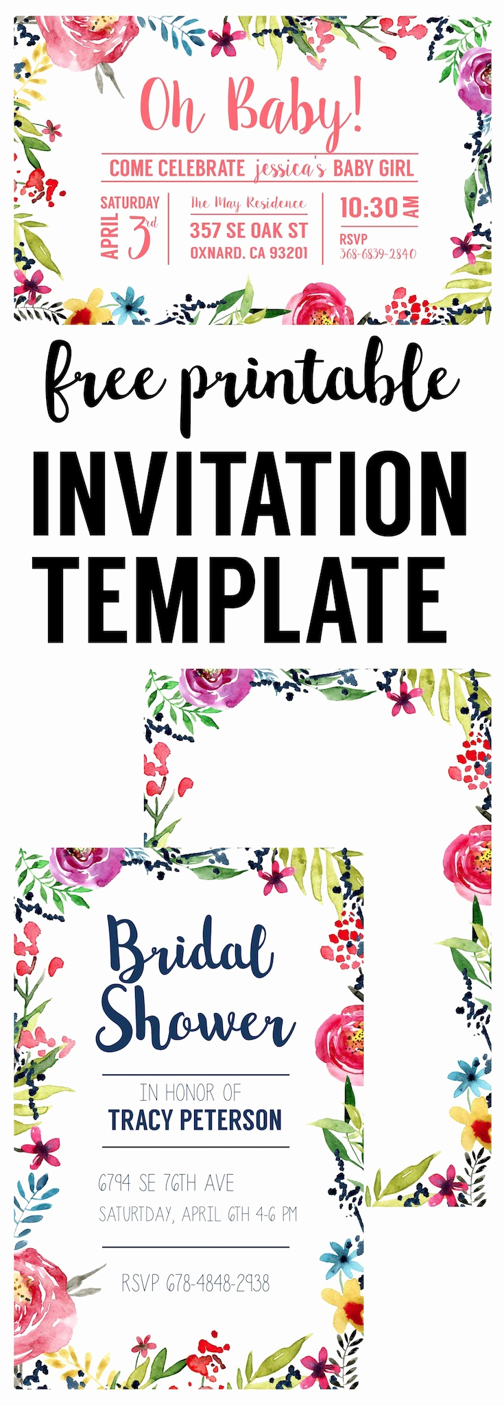 Free Templates for Invitations Best Of Floral Borders Invitations Free Printable Invitation