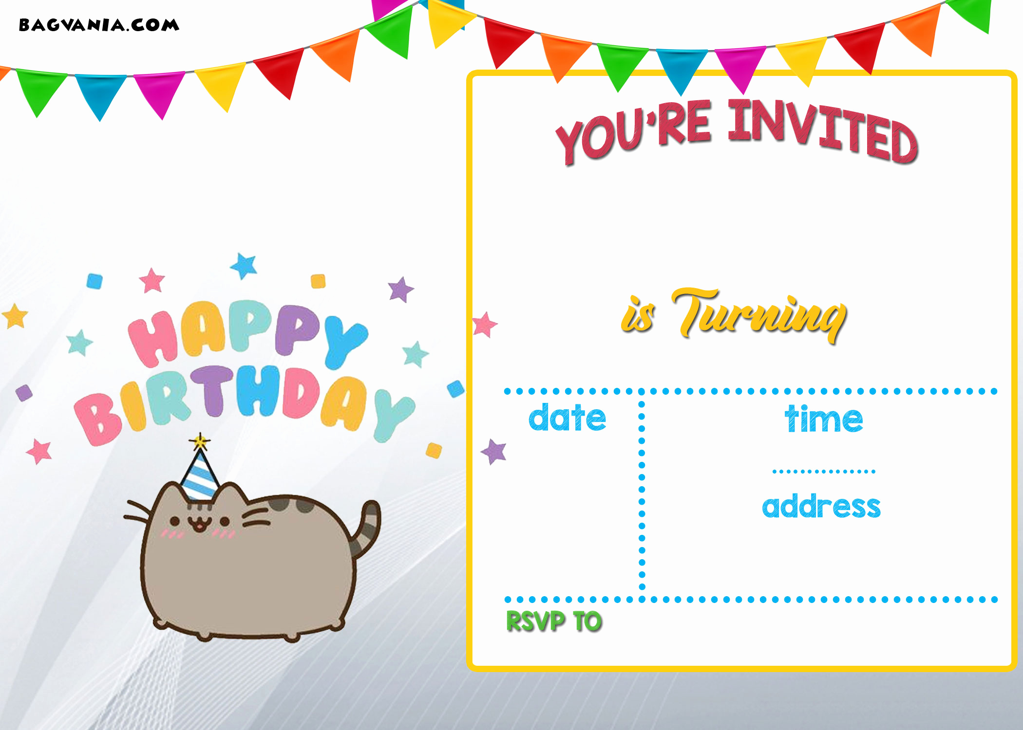 Free Templates for Invitations Lovely Free Printable Pusheen Birthday Invitation Template