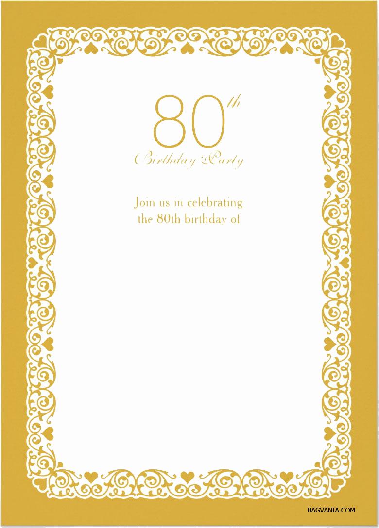 Free Templates for Invitations Luxury Free Printable 80 Birthday Invitations Templates