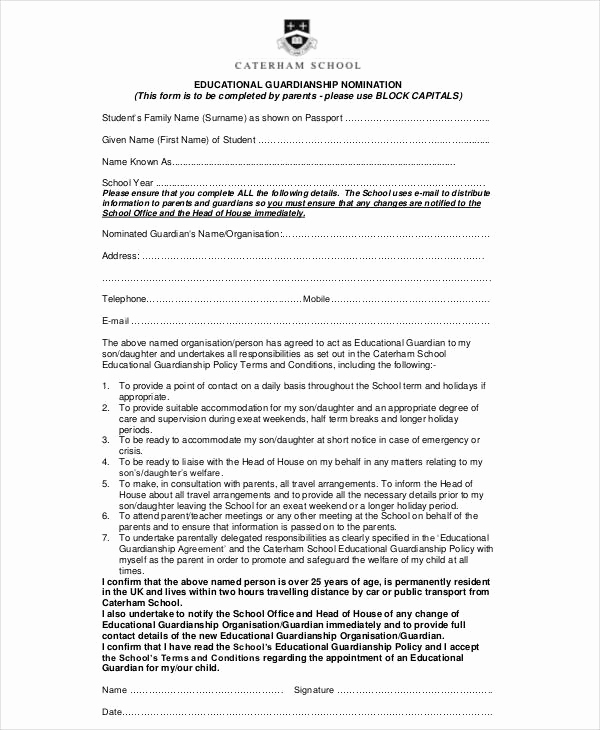 Free Temporary Guardianship form Awesome Guardianship forms 9 Free Pdf Word