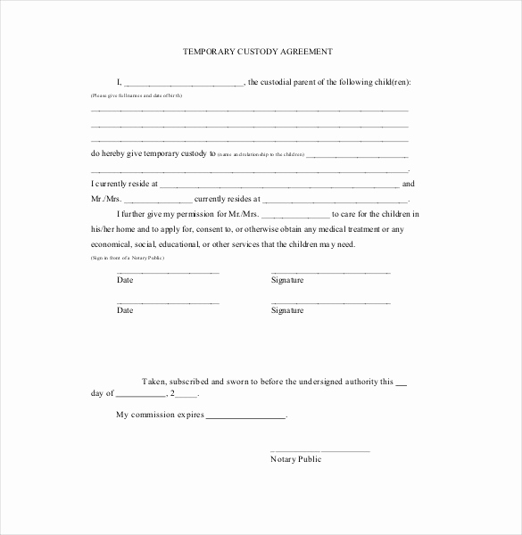 Free Temporary Guardianship form Beautiful Custody Agreement Template – 10 Free Word Pdf Document