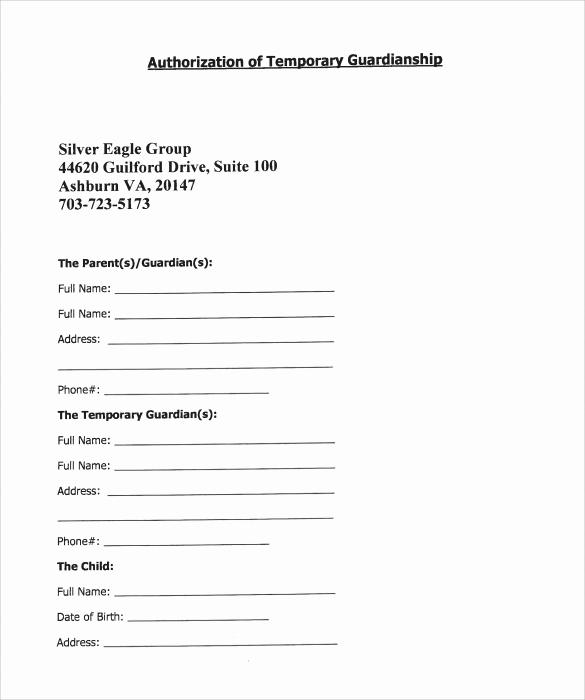 Free Temporary Guardianship form Elegant 9 Temporary Guardianship form Templates to Download