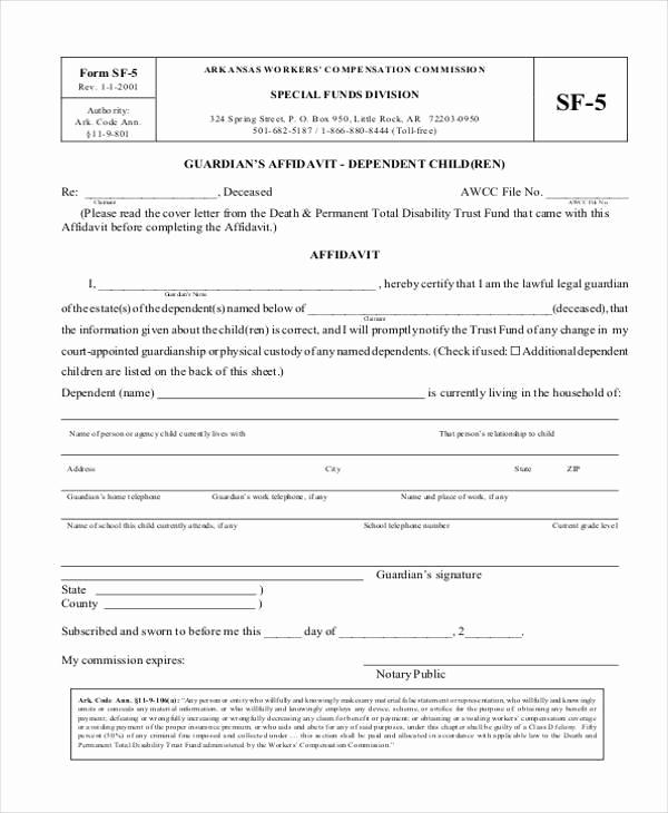 Free Temporary Guardianship form New Sample Guardianship Affidavit forms 8 Free Documents In Pdf
