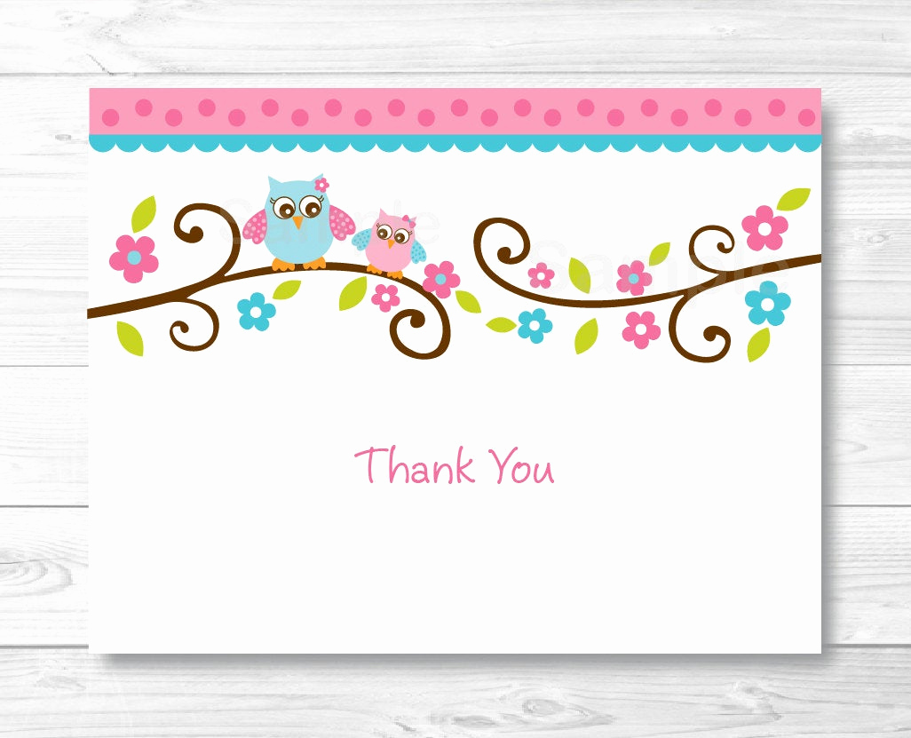 Free Thank You Card Template Unique Pink Owl Thank You Card Folded Card Template Owl Baby