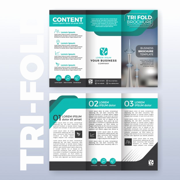 Free Tri Fold Brochure Template Luxury Business Tri Fold Brochure Template Design with Turquoise
