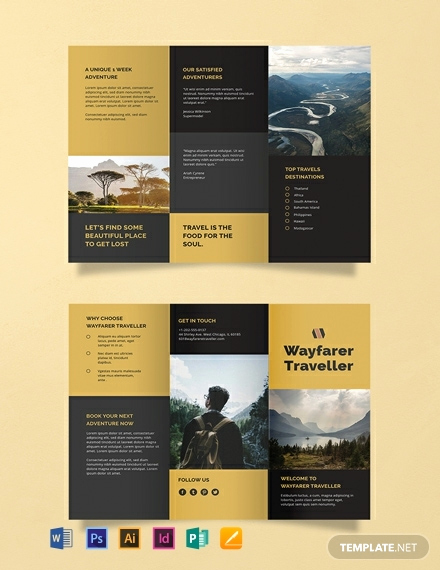 Free Tri Fold Brochure Templates Elegant Free Tri Fold Travel Brochure Template Download 626