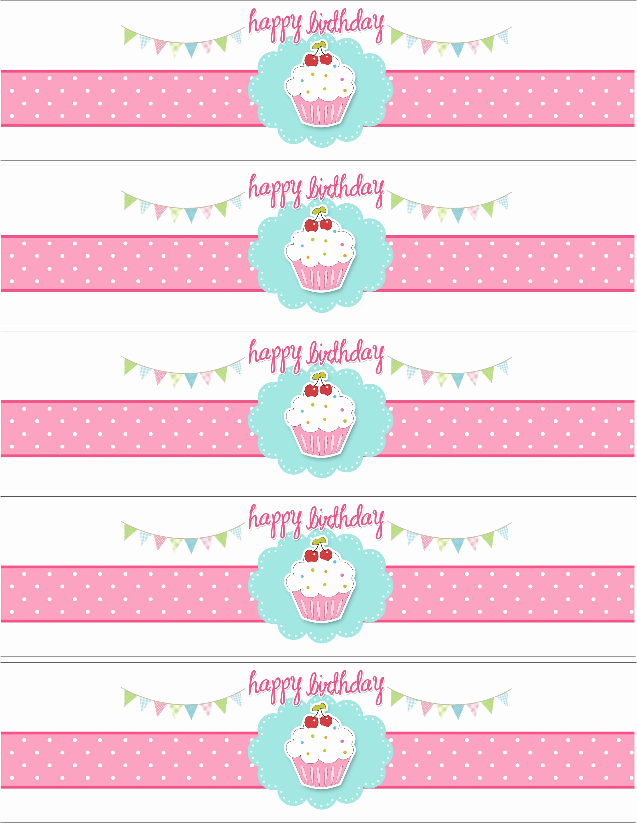 Free Water Bottle Label Template Best Of Cupcake Birthday Party with Free Printables