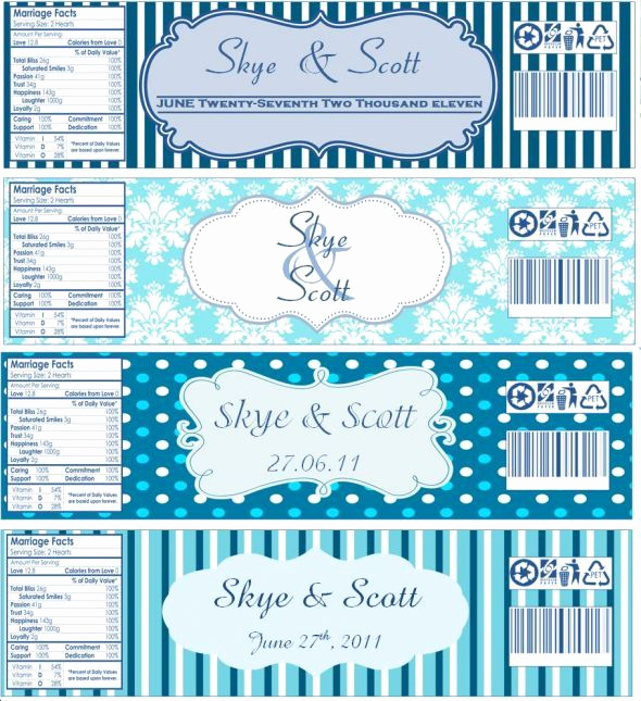 Free Water Bottle Label Template Inspirational Water Bottle Labels now with Templates Wedding Blue