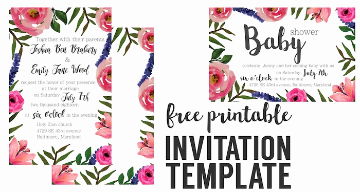Free Wedding Invitation Printable Templates Best Of Floral Invitation Free Printable Invitation Templates