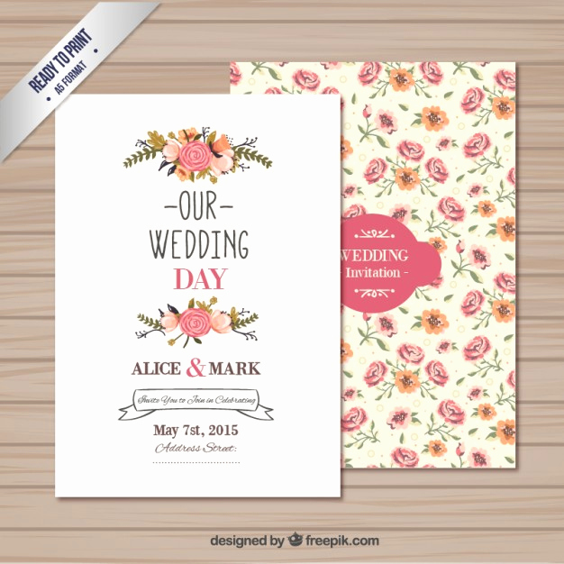 Free Wedding Invitation Printable Templates Best Of Wedding Invitation Template Vector