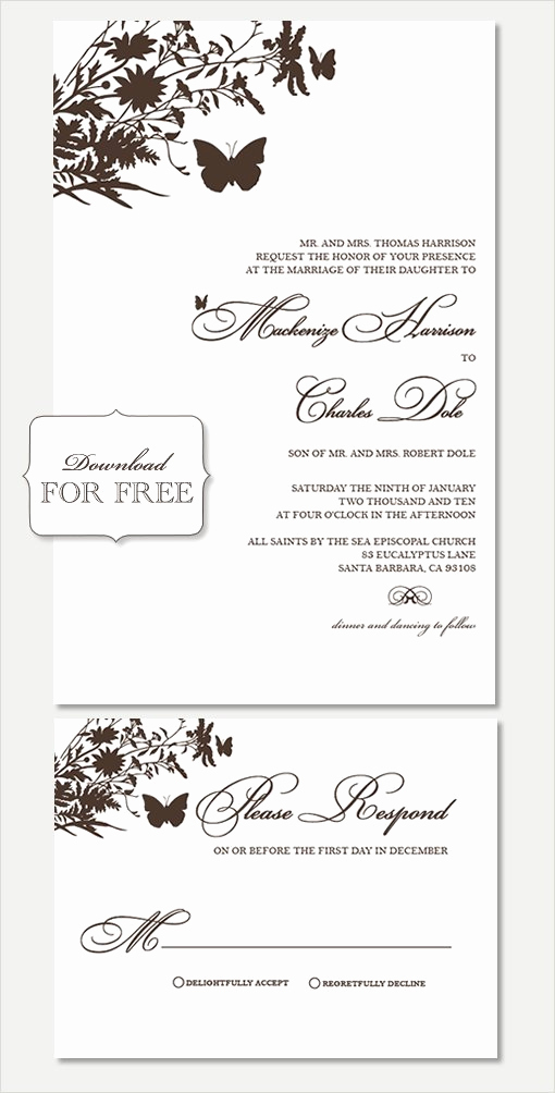 Free Wedding Invitation Printable Templates Fresh Free Printable Wedding Invitation Templates