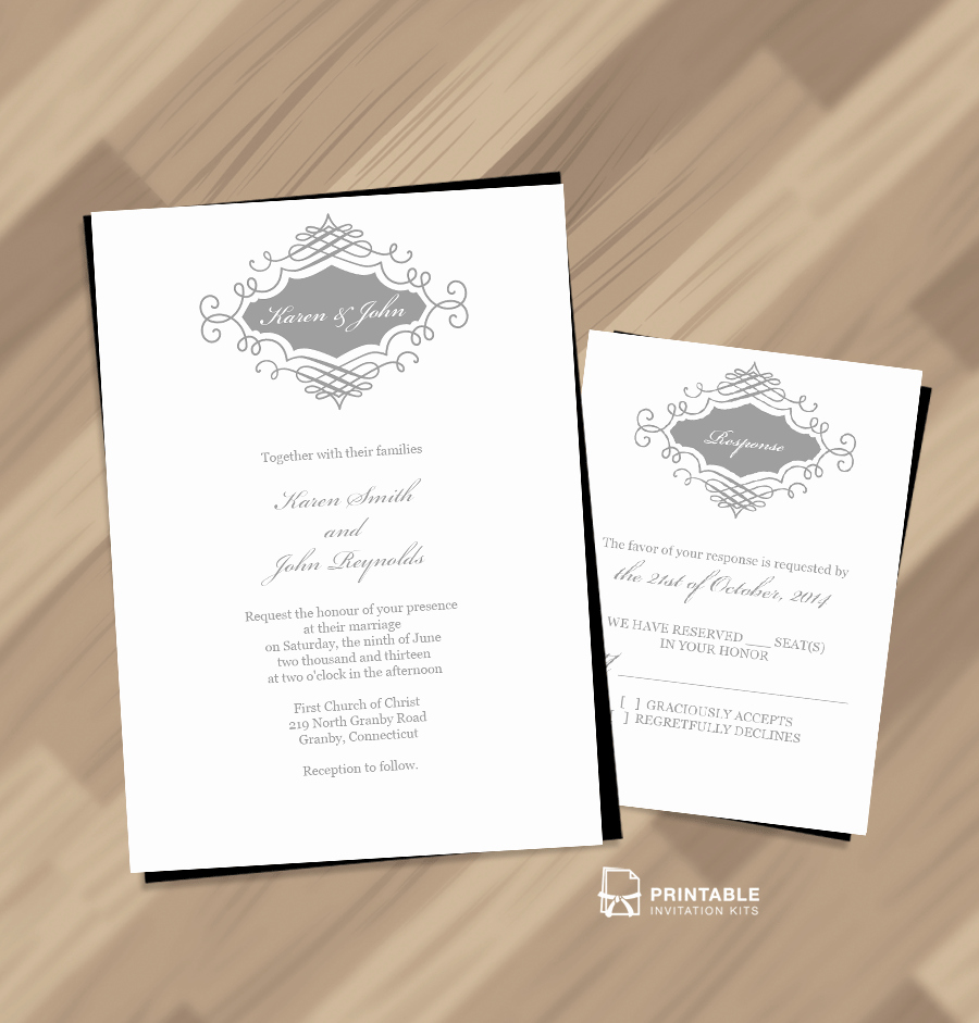 Free Wedding Invitation Printable Templates Lovely Beautiful Wedding Monogram Free Invitation and Rsvp