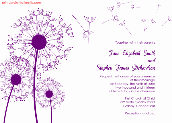 Free Wedding Invitation Printable Templates New Dandelions Country Wedding Invitation Template ← Wedding