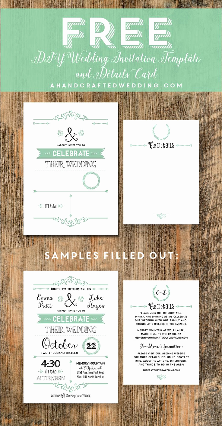 Free Wedding Invitation Printable Templates Unique Free Wedding Invitation Template Via Ahandcraftedwedding