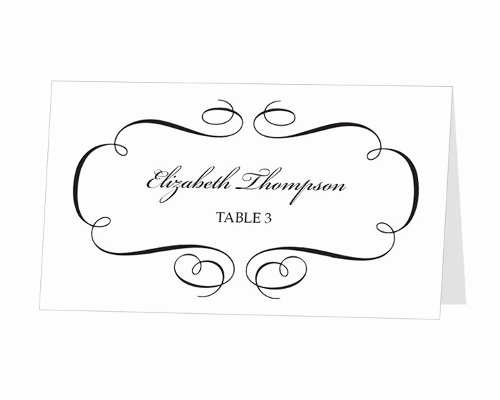 Free Wedding Place Card Template Luxury Avery Place Card Template Calligraphic Flourish Design