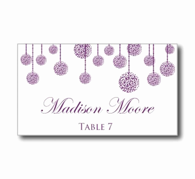 "Free Wedding Place Card Template Luxury Printable Wedding Place Card Template ""purple Wedding"