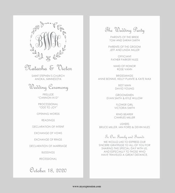 Free Wedding Program Template Beautiful 43 Wedding Templates Word