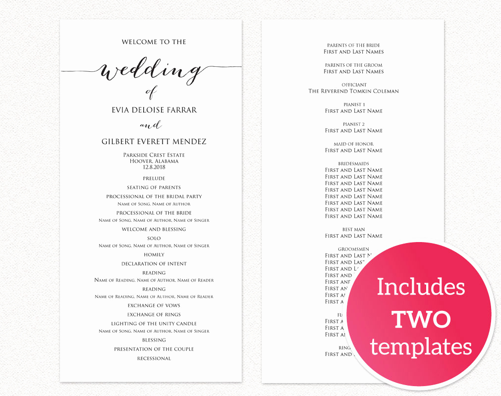 Free Wedding Program Template Beautiful Wedding Programs · Wedding Templates and Printables