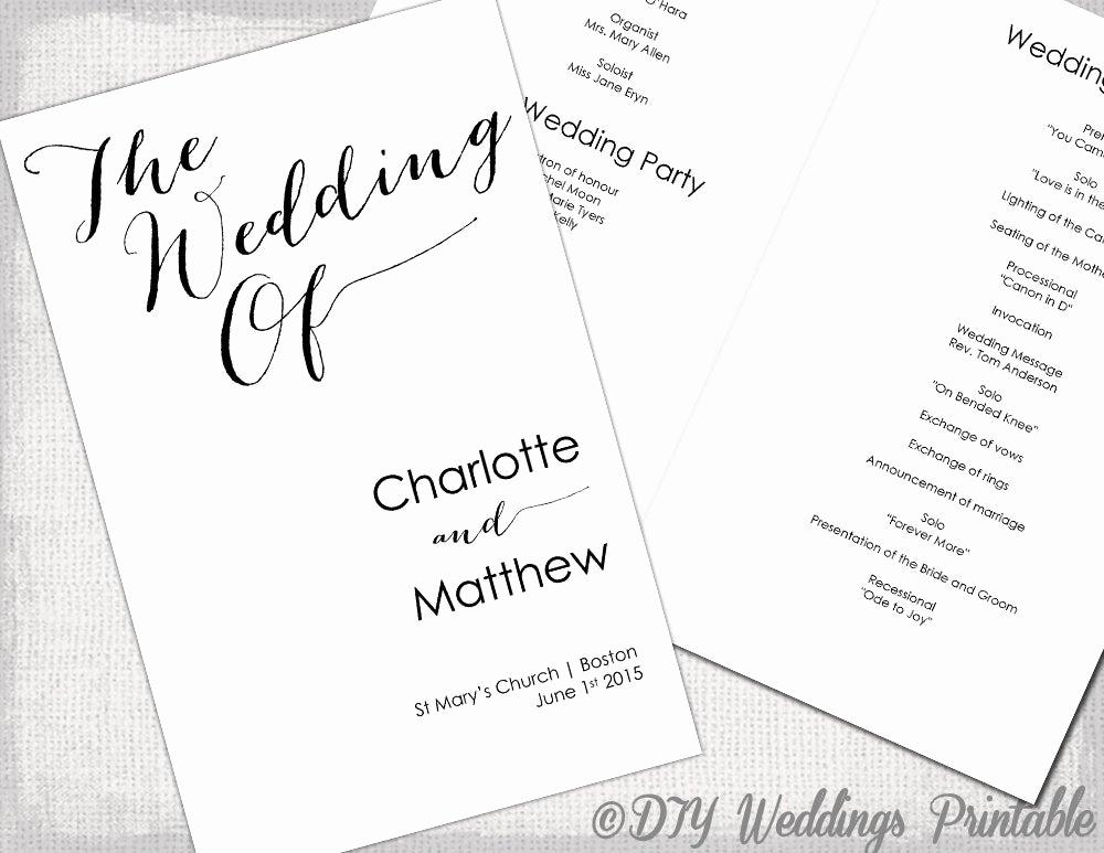 Free Wedding Program Template Best Of Wedding Program Template Calligraphy Black & White Printable