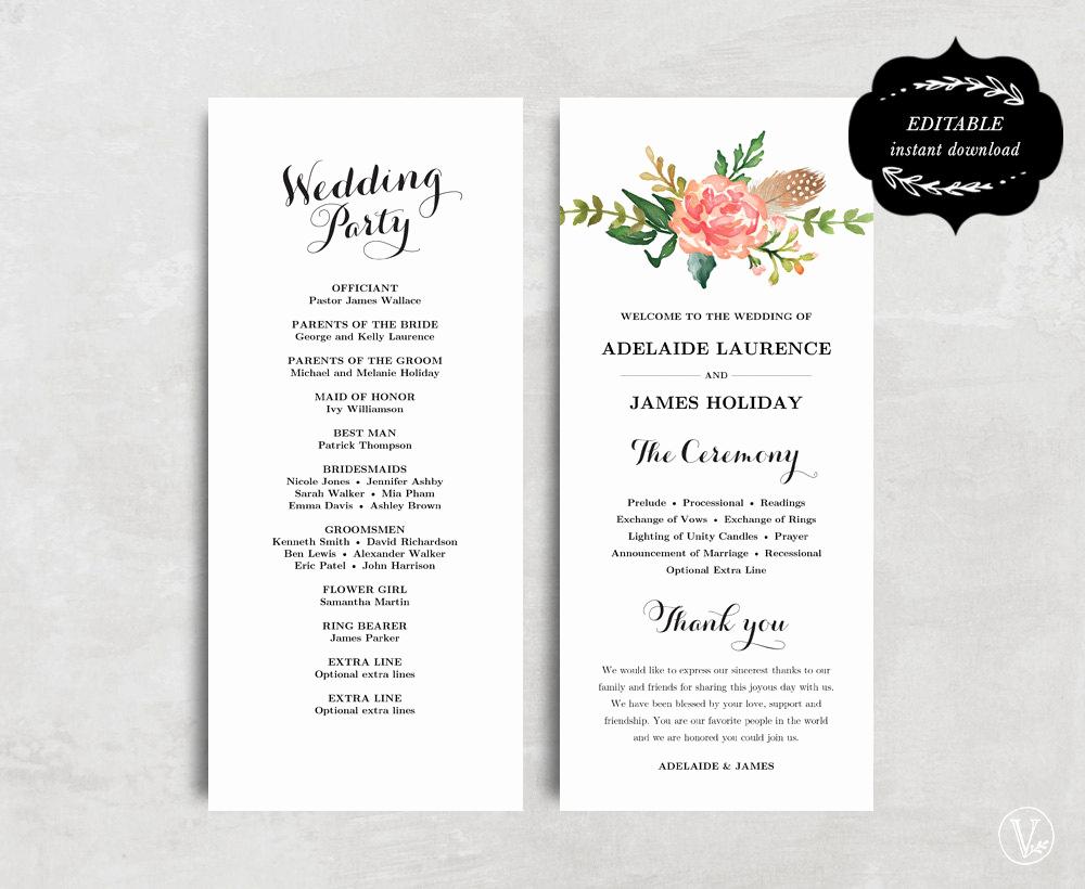 Free Wedding Program Template Elegant Printable Wedding Program Template Floral Wedding Program