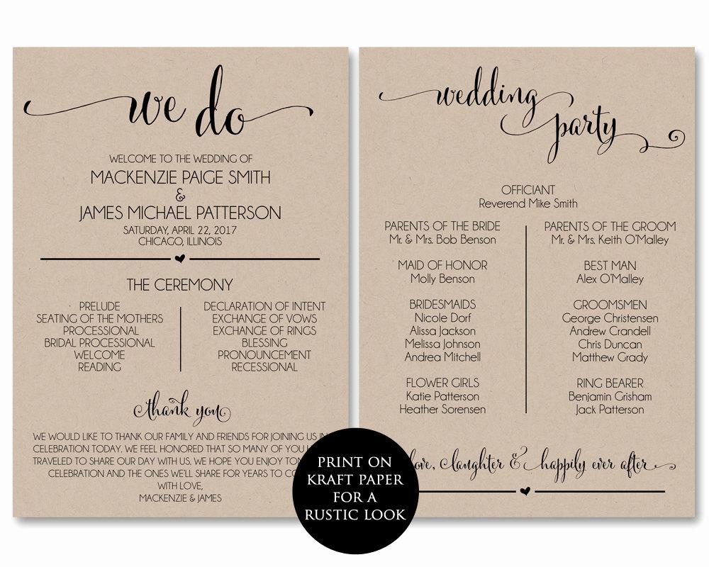 Free Wedding Program Template Elegant Wedding Program Template Wedding Program Printable We Do