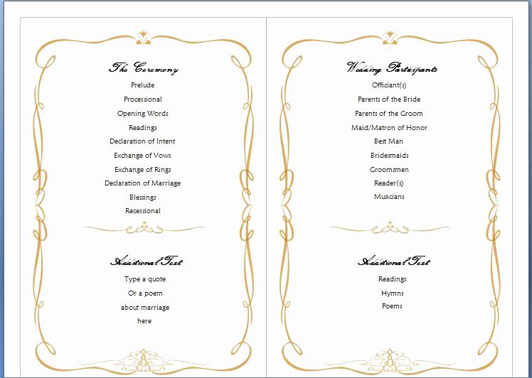 Free Wedding Program Template Lovely Wedding Program Template Word
