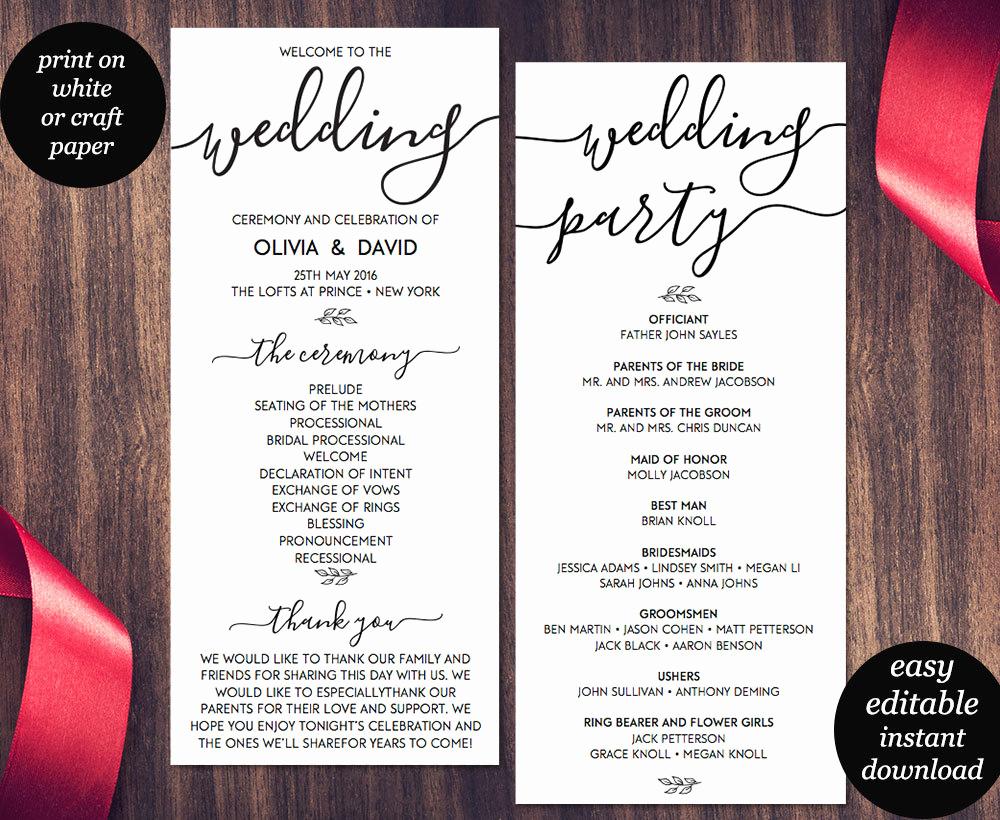 Free Wedding Program Template New Wedding Program Template Printable Wedding Program Wedding