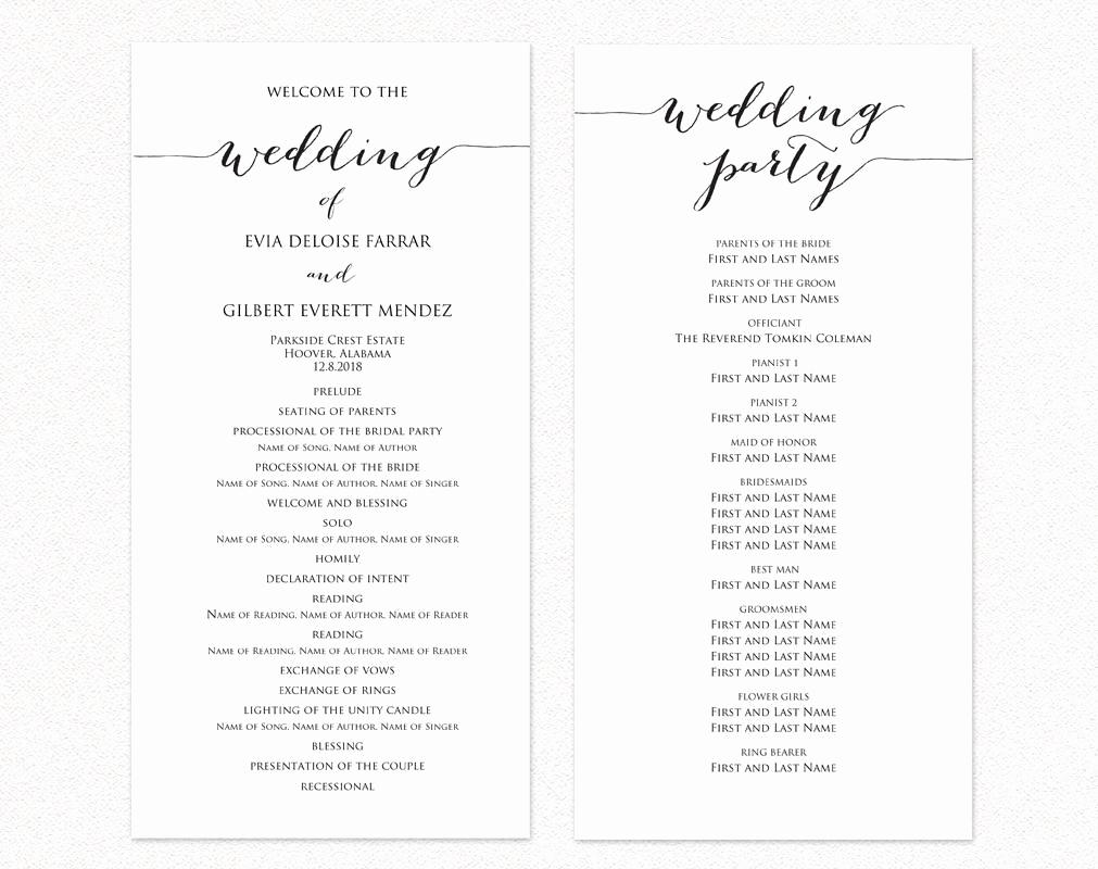 Free Wedding Program Template Unique Wedding Ceremony Program Templates · Wedding Templates and