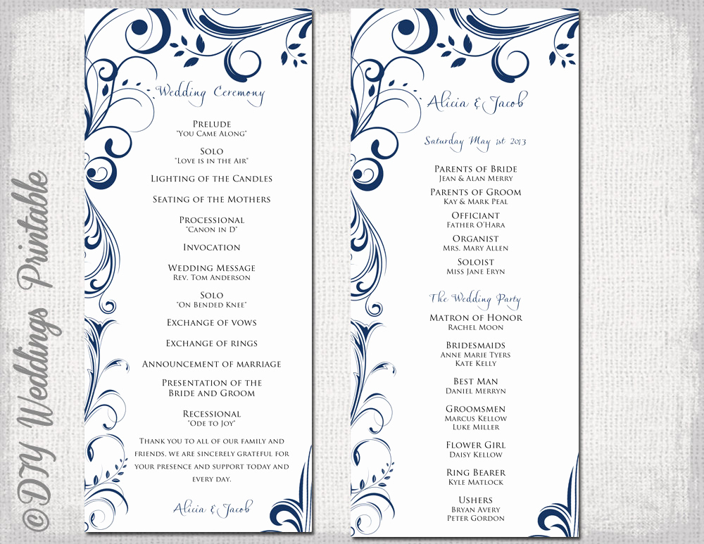 Free Wedding Program Templates Word Awesome Wedding Program Template Navy Blue Instant