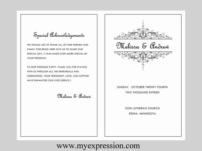Free Wedding Program Templates Word Awesome Wedding Program Template Vintage Filigree Instant Download