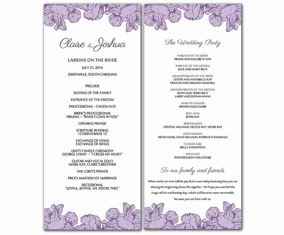 Free Wedding Program Templates Word Beautiful Diy Purple Poppy Flowers Wedding Program Microsoft Word