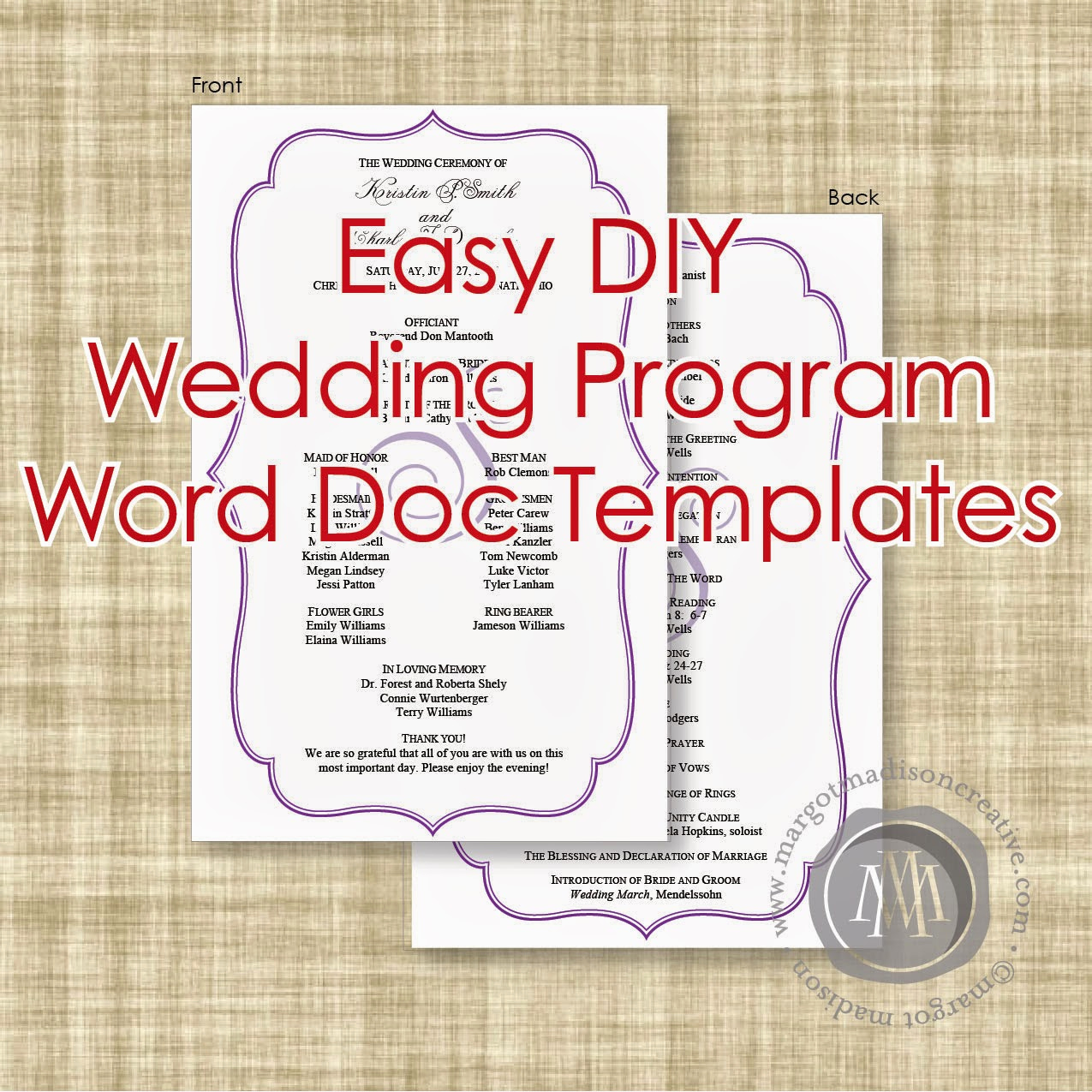 Free Wedding Program Templates Word Beautiful Margotmadison Diy Wedding Program Word Doc Templates now