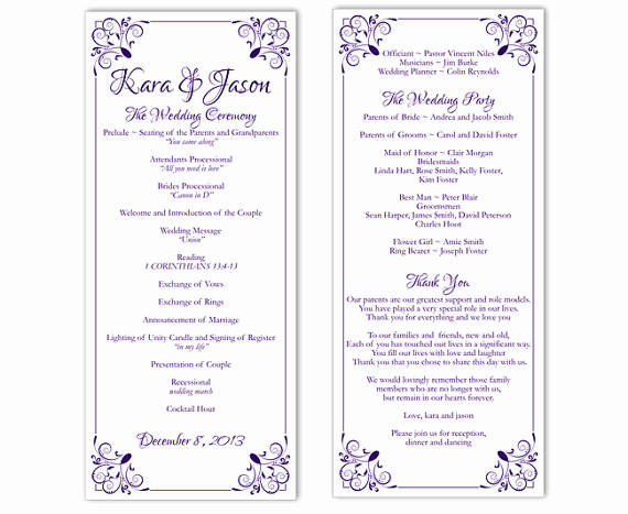 Free Wedding Program Templates Word Beautiful Wedding Program Template Diy Editable Text Word File