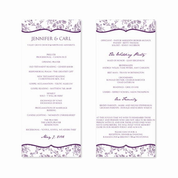 Free Wedding Program Templates Word Best Of Instant Download Wedding Program Template by