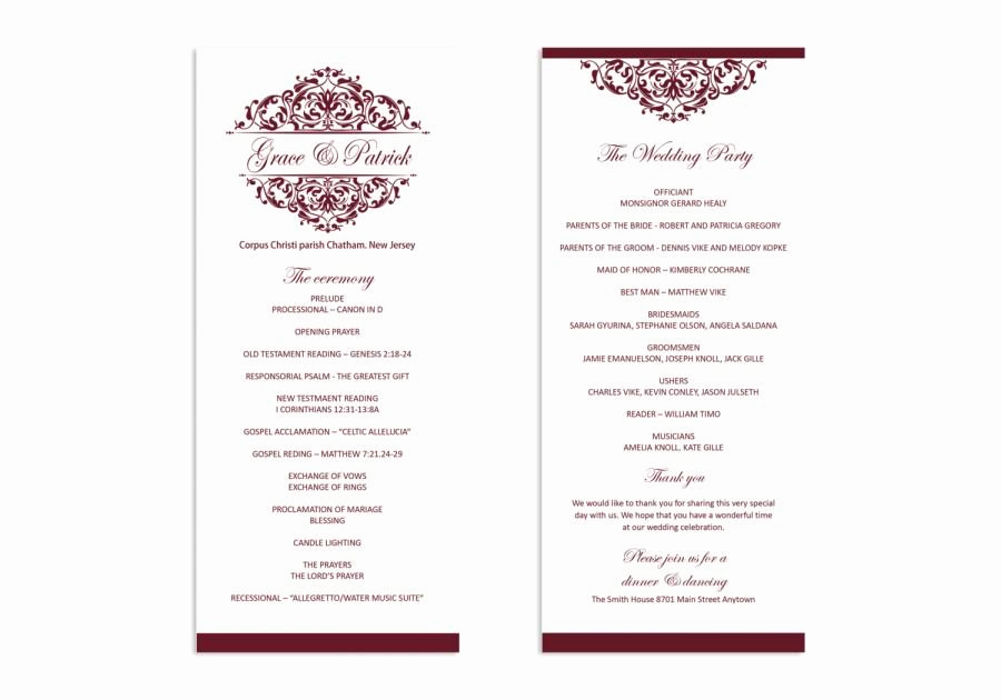 Free Wedding Program Templates Word Elegant Wedding Program Template Printable Wedding Program